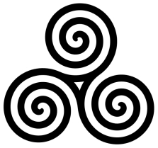 Triple Spiral symbol -- three filled double Archimedean spirals (triskelion)